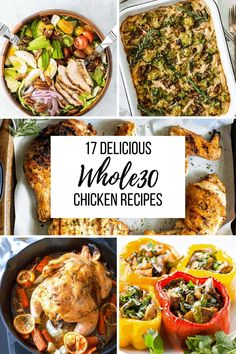 These 17 delicious chicken recipes are guaranteed to get your out of a cooking slump. Chicken for dinner doesn't have to be boring anymore! Lunch Recipes, Vegetarian Recipes, Dinner Recipes, Healthy Recipes, Whole30 Recipes, Meat Recipes, Free Recipes, Healthy Food, Healthy Eating