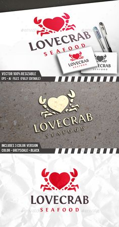 Love Crab Logo by BossTwinsArt Package Professional Design Vector 100 resizable. You can change text and colors very easy using the named and organized layers t Restaurant Logo Design, Bakery Logo Design, Seafood Restaurant, Brand Identity Design, Branding Design, Corporate Branding, Logo Branding, Winery Logo, Logos