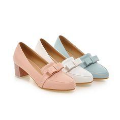 077d0ada4d9 Cute Womens Girls Casual Mid Block Heels Bowknot Pumps Shoes Us Size