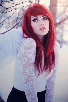 Bright red hair make-up hair, hair color Hair Color For Brown Eyes, Bright Red Hair, Red Hair Color, Hair Colors, Ombre Blond, Ombre Hair, Steam Punk, Tribal Fusion, Dark Black