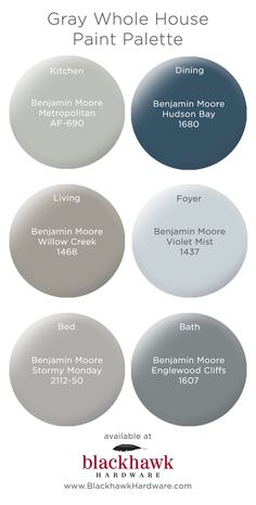 bedroom paint colors Gray Whole House Benjamin Moore Paint Palette The Hawaiian Exterior Paint Colors, Exterior House Colors, Paint Colors For Home, Bathroom Paint Colours, Paint Colors For Basement, Dinning Room Paint Colors, House Color Schemes Interior, Basement Color Schemes, Cottage Paint Colors