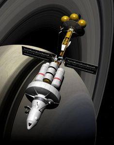 DSV Ringmaster Orbiting Saturn by Paul-Lloyd.deviantart.com on @DeviantArt