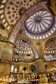The Sacred: Interior of the grand Blue Mosque in Istanbul, Turkey.