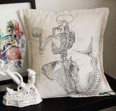 Antique Anatomical Mermaid Pillow