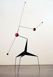 """Calder, Morning Star, 1943  Sheet metal, wire, wood, and paint  76 3/4"""" x 48 3/8"""" x 45 3/4""""  The Museum of Modern Art, New York"""