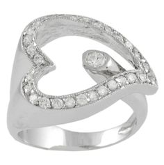Journee Collection Sterling Silver Wrap Style Heart CZ Ring (5), Women's, White