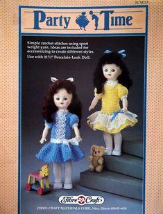 Party Time By Fibre Craft Vintage Crochet Pattern Leaflet 1990 #SimpleCrochetDress #DollDressCrochet #CrochetPattern #11AndAHalfInch #PorcelainLookDoll #DollDress #CrochetDress #CrochetDollDress #FibreCraft #CrochetBook