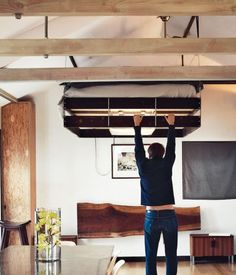 Crammed up furniture in your room? You can always use a retractable bed which hides and folds up to the ceiling until bed time, saving a lot of space.