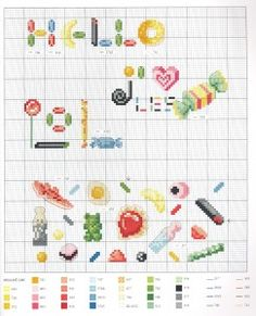 cuisine - kitchen - bonbons - point de croix-cross stitch - broderie-embroidery- Blog : http://broderiemimie44.canalblog.com/