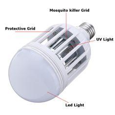 AC220V E27 B22 7W LED Mosquito Bug Zapper Light Bulb Flying Insects Moths Killer Lamp - B22 Flying Insects, Led Flashlight, Strip Lighting, Light Bulb, Mosquito Killer, Lights, Linear Lighting, Light Globes