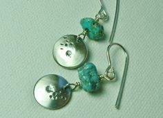 Sterling Silver Turquoise Earrings Small by MarlasJewelry on Etsy, $25.00 #SterlingSilver #Handmade #Turquoise