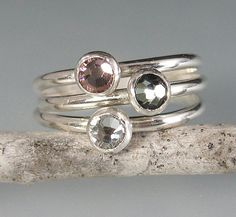 Stackable rings set rose pink black diamond by KryziaKreations, $70.00