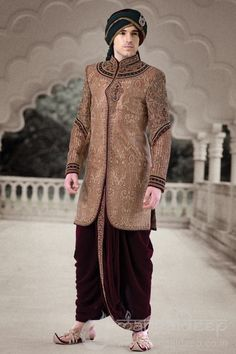 Buy Mangaldeep Maroon and Beige Silk Embroidered Sherwani online in India at best price.p Maroon poly jacquard indowestern indowestern kurta designed with biege embroidered. Mens Sherwani, Wedding Sherwani, Wedding Wear, Wedding Dresses, Wedding Costumes, Kurta Designs, Embroidered Silk, Men's Clothing, Groomsmen