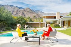 Recreating the Iconic Photo by Slim Aarons, 'Poolside Gossip' with Nelda Linsk (in red) and Helen Kaptur (in yellow) who were in the original photo