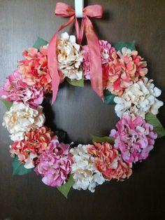 Coral Pink Cream Silk Hydrangea Wreath  by SimpleYetComplex, $65.00