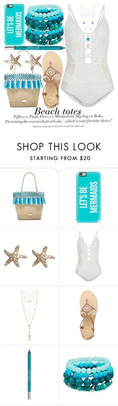 """BEACH TOTES"" by noraaaaaaaaa ❤ liked on Polyvore featuring Caffé, Casetify, Annoushka, New Look, H&M, House of Harlow 1960, Jack Rogers, Urban Decay, Jennifer Meyer Jewelry and letsbemermaids"