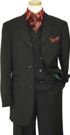Tayion T-Fusion Collection Black With Wine/Silver Grey Dual Pinstripes Vested Suit 3615 (US 40R - 34 in. Waist