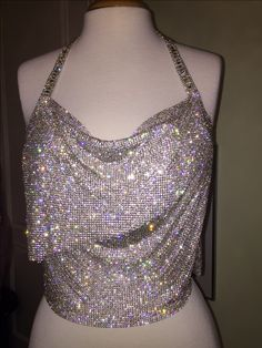 Crystal mesh cowl neck top