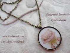 Amuleto di Holly Hobbie annata 1978 con autentico di Scrollbeads