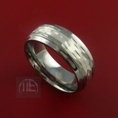 Titanium Textured Ring with Silver Inlay by StonebrookJewelry, $74.92