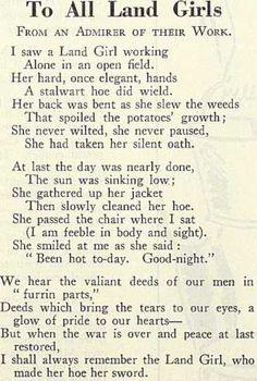 A poem written by an admirer of the Land Girls.