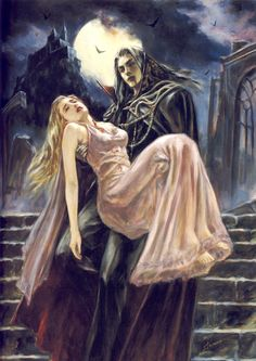 vampire art, illustration, shinobu tanno - Is he her protector? Her downfall? Gothic Horror, Arte Horror, Gothic Art, Horror Art, Vampire Love, Gothic Vampire, Vampire Art, Vampire Girls, Fantasy World