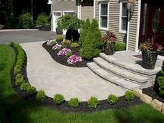 Amazing Simple And Beautiful Front Yard Landscaping On A Budget - front yard landscaping simple Front Walkway Landscaping, Sidewalk Landscaping, Front Yard Walkway, Landscaping With Rocks, Outdoor Landscaping, Landscaping Ideas, Inexpensive Landscaping, Backyard Ideas, Outdoor Decor