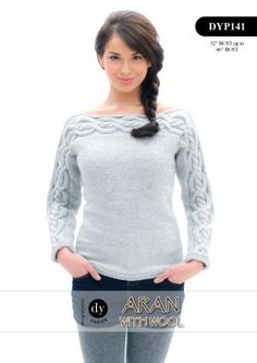 DY Ladies Aran cable detail jumper 141