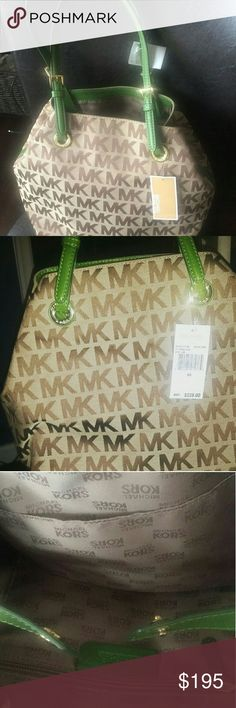 82594eb13c5f Michael kors green and tan handbag For your consideration from my personal