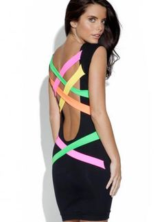 Black Bodycon Dress with Colorful Neon Strap Back,  Dress, party dress  neon  cutout back, Chic