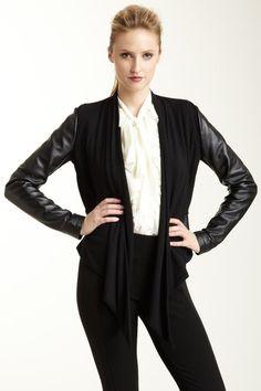 Badgley Mischka & Bagatelle Outerwear  Bagatelle Draped Front Leather Sleeve Jacket