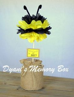 Bumble Bee Tissue Pom pom Centerpiece / What by DyanisMemoryBox