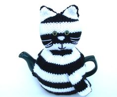 Cat Kitty tea cosy to fit a medium pot Black and by madmumknits, £15.00