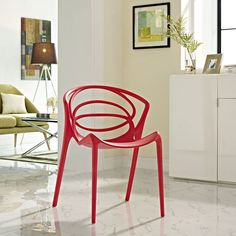 Locus Dining Side Chair, Red - Travel along defined orbits with the Locus dining chair. Designed to represent the path of constellations in a solar system, Locus is made of durable molded plastic and comes outfitted with foot caps to prevent scratching. No assembly is required with this modern dining chair meant to keep your contemporary dining room comfortably in motion. Set Includes: One - Locus Dining Side Chair. Material: PP MATERIAL, Plastic Foot Glide. Weight: 12