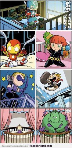 Baby avengers! Even though Black Widow and Hawk Eye aren't avengers