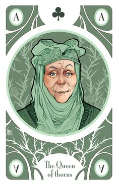 Olenna Tyrell, the Ace of Flowers Illustration for my personal version of Game of Thrones' cards