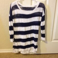 White and blue sweater A very cute white and blue stripped top. 3/4 sleeve Express Tops Tees - Long Sleeve