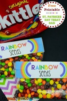 St Patricks Day Crafts For Kids, Treat Ideas for St Patty's Day. FREE PEINTABLE RainbowSeeds, Skittles Rainbow bag topper