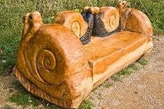 A snail couch. If you move it across the living room it leaves a trail. Chesterfield Chair, Snail, Accent Chairs, Weird, Carving, Leaves, Couch, Living Room, Cool Stuff