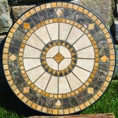 Compass Marble Mosaic Side Table by Alfresco Home - Patio Table - Ideas of Patio Table Mosaic Tile Art, Mosaic Artwork, Mosaic Diy, Mosaic Garden, Mosaic Crafts, Mosaic Projects, Marble Mosaic, Mosaic Glass, Mosaics