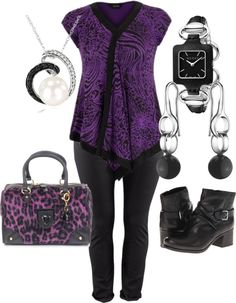 """""""Black, silver and Purple - Plus Size"""" by intcon on Polyvore"""
