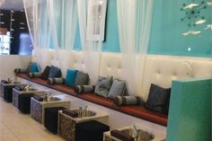 blue salon decor