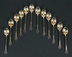 12 moccaspoons silver 925s /black enamel David Andersen, Oslo. Hammered price…