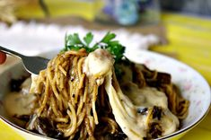 French Dip Mushroom Spaghetti with Horseradish Cheddar Sauce