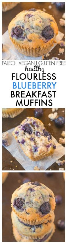 Healthy Flourless Blueberry Breakfast Muffins made with NO butter, oil, flour or sugar but you'd never tell- Easy AND delicious! {vegan, gluten free, paleo recipe}- http://thebigmansworld.com