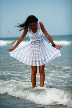 "Crochet pattern ""white summer dress""    Skill Level: Intermediate.   Size: S- L; XL-XXXL.   Yarn: cotton 282m-50gr.(3ply)      and..."