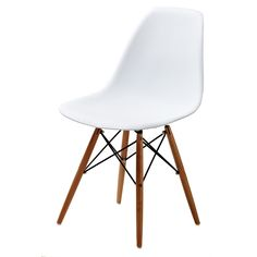 Retro style white accent chairs add a contemporary touch to any room. These chairs are made from molded plastic, wooden legs, and special feature unique wood grain finish on the seat and back.
