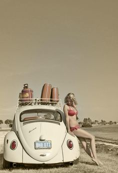 Travelling VW Beetle Girl