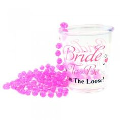 Bride To Be on the Loose! Perfect gift for your bride to be on her special hen party night. This super shot glass is made of a hard wearing plastic so it will last the night through. It also features a Party Shots, Bride To Be Sash, Hen Party Accessories, Shot Glasses, Personalized T Shirts, Gift Bags, Wine Glass, Pink, Night