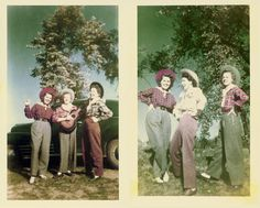 A friend of ours gave us these photos. She found them in a drawer. They're too amazing for words. Four cowgirls hanging out for photos (notice that the middle cowgirl is different in the two shots). Unfortunately I know nothing about these ladies, except that one of them may have lived in my friends' house fifty years ago.